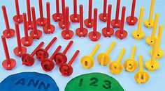 Uppercase Alphabet & Number Dough Stampers (#LA278, Lakeshore Learning)