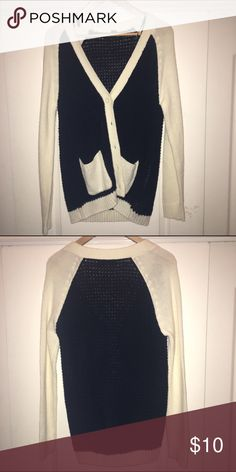 Knit cardigan Black and cream/white cardigan. Forever 21 Sweaters Cardigans