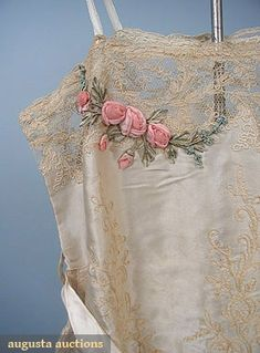 SATIN & LACE CHEMISE, 1920s Ivory silk charmeuse w/ ecru embroidered lace, ribbon rose & forget-me-not trim. Detail