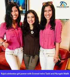 """Kajol celebrates girl power with Everest twins Tashi and Nungshi Malik Bollywood actor Kajol, on Tuesday, posted a photo on Instagram with """"Everest twins"""" Tashi and Nungshi Malik. In February 2018, Tashi and Nungshi became the first siblings and twins to scale the highest peaks in 7 continents  #transcend #everest #climb #impossible #kajol #bollywood Siblings, Twins, 7 Continents, Bollywood Actors, Girl Power, Tuesday, Two By Two, February, Scale"""