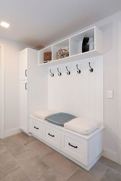 Wonderful Job with the Custom Cabinetry we did in this Gorgeous Laguna Beach Home! Mudroom Laundry Room, Laundry Room Design, Home Room Design, Bench Mudroom, Mudroom Cabinets, Tall Cabinets, Home Entrance Decor, House Entrance, Small Mudroom Ideas