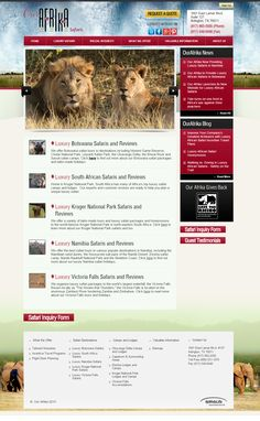 This is a custom website for Our Afrika.  With more than 35 years of experience in the travel industry, Our Afrika offers the very best in luxury African safaris. Born and raised in South Africa, the Our Afrika team provides luxury safari packages in Botswana, South Africa, Victoria Falls and Namibia.  Visit their site at www.ourafrika.com Kruger National Park Safari, Victoria Falls, Custom Website, Interesting Information, African Safari, South Africa, Luxury, Travel, Viajes