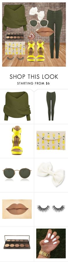 """Yellow/ Army"" by skatejane on Polyvore featuring Oasis, Michael Antonio, Kayu, Ray-Ban and Velour Lashes"