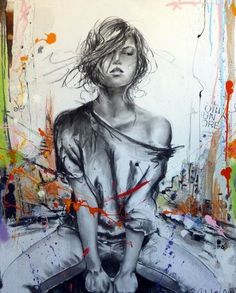 Street Art Banksy, Art Sketches, Art Drawings, Urbane Kunst, Cecile, Abstract Wall Art, Street Artists, Urban Art, Female Art