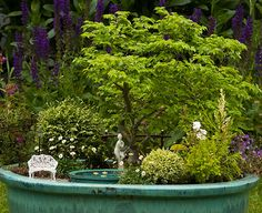 Water features bring an enticing dimension to miniature gardens.
