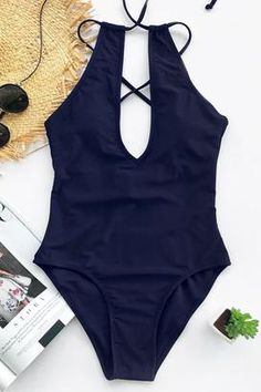 bd6e316168 Cupshe Broken Ocean One-piece Swimsuit - XXL   Navy