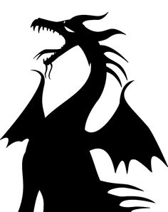 Maleficent silhouette - for my window Disney Silhouettes, Halloween Silhouettes, Villains Party, Disney Villains, Maleficent Birthday Party, Maleficent Dragon, Sleeping Beauty Maleficent, Dragon Silhouette, Pumpkin Stencil