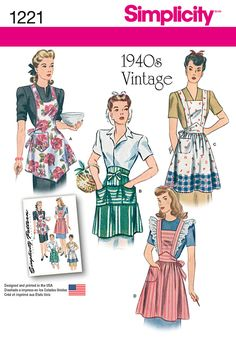 Whip up something fun with this vintage 1940s apron pattern. Aprons can be made with halter top and pocket, with crossed back, pocket and option of eyelet, and waist apron with front tie and pockets.
