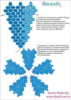 Cornflower schema - a bit of diagonal peyote.   ~ Seed Bead Tutorials