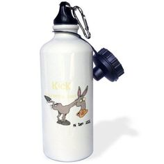 3dRose Kick Endometrial Cancer In The Ass Awareness Ribbon Cause Design, Sports Water Bottle, 21oz