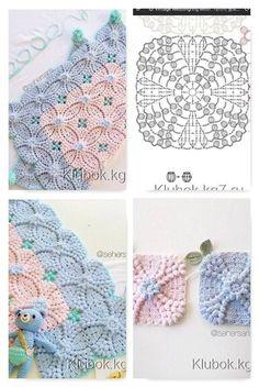 Crochet Square Patterns, Crochet Motifs, Crochet Blocks, Crochet Chart, Crochet Squares, Crochet Blanket Patterns, Baby Blanket Crochet, Filet Crochet, Crochet Monsters