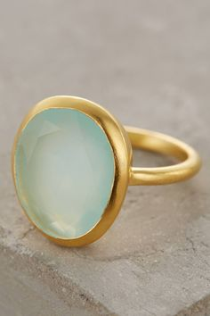 This beautiful Seastone Ring by Roost is made from 22k gold vermeil and chalcedony. Roost's eclectic jewelry collection is rooted in natural materials, small craft production and attention to quali...