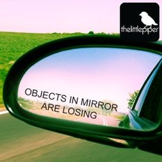 Objects in mirror are losing car sticker by thelittlepiper on Etsy