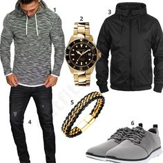 Grau-Schwarzes Outfit mit goldener Automatikuhr (m0615) #gold #black #automatikuhr #gigandet #amacisons #hoodie #outfit #style #fashion #menswear #herren #männer #shirt #mode #styling #sneaker #menstyle #mensfashion #menswear #inspiration #shirt #cloth #clothing #ootd #herrenoutfit #männeroutfit