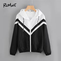 Two Tone Hooded Zip Up Jacket Women Spring Autumn Casual Color Block Clothing Female Black and White Sporty Coat Black and Whit Coats For Women, Jackets For Women, Cute Jackets, Women's Jackets, Color Blocking Outfits, White Zip Ups, Casual Outfits, Fashion Outfits, Fashion Decor