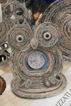owl made from coiled magazines/newspaper