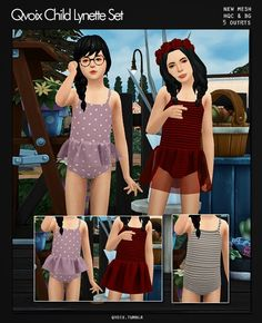Child Lynette Swimsuit Set for The Sims 4 Sims 4 Toddler Clothes, Sims 4 Cc Kids Clothing, Sims 4 Cc Eyes, Sims Cc, Marigold Sims 4, Maxis, The Sims 4 Bebes, The Sims 4 Cabelos, Muebles Sims 4 Cc
