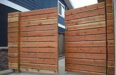 1x6 redwood modern horizontal privacy driveway gates, with electric combo deadbolt #2.jpg; (before staining).jpg;  Marine Ave. Manhattan Beach 90266