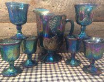1970's STUNNING Harvest Blue Carnival Glass Pitcher Set with 6 (SIX) Goblets…