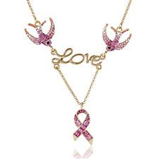 Butler & Wilson Breast Cancer Care Swallow & Ribbon 41cm Necklace with Extender