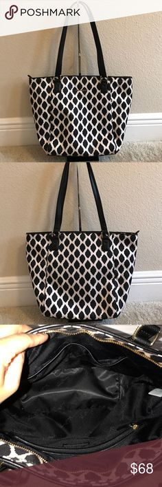 """Vera Bradley Streeterville Tote - Small Ella In excellent condition. Small stain front bottom left. See pictures above. Color ikat spots Style: Small Ella Poly-twill body, hidden back pocket at top seam, top zip closure, goldtone hardware Lined interior, two front slip pockets, one back zip pocket Measures approximately 15""""W x 11-1/2""""H x 4-3/4""""D with an 11"""" strap drop; weighs approximately 1 lb Facing 100% twill polyester; lining 100% polyester; trim 100% leather Spot clean Vera Bradley Bags…"""