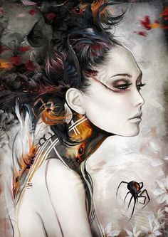 black widow, digital illustration, art sketches, digital art, black windows, spider, artist, colored pencil drawings, bruno wagner