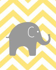 Modern Nursery Yellow and Gray Prints Elephant by karimachal