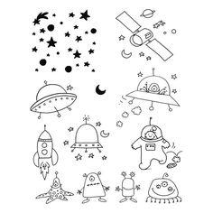 digi stamp space, aliens, stars #silhouettes