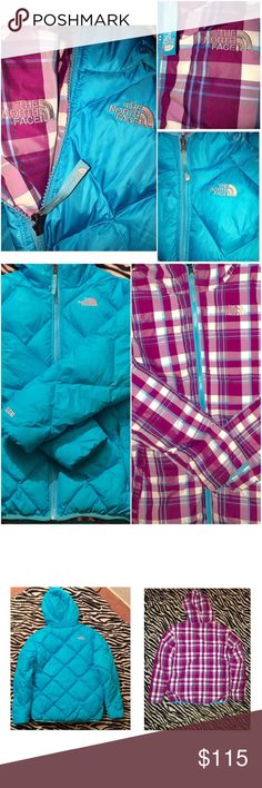 REVERSIBLE NORTH FACE😎😎 winter coat Fully reversible,perfect for the cold winters! No stains, perfect condition! Barley worn. Size is a girls XL but I am 20 years old and it fits me perfect so if your a XS in women's it will definitely fit just right :) The North Face Jackets & Coats