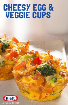 Veggie Frittata Cups recipe - Here's a brunch frittata you'll like a lotta—made mini-style in a muffin tin with eggs, hash browns, veggies and cheese. (Baking Eggs In Muffin Tin) Kraft Recipes, Egg Recipes, Brunch Recipes, Cooking Recipes, Healthy Recipes, Cheese Recipes, Recipies, Kraft Foods, Quiche Recipes