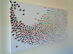 Butterfly Canvas made with colour testers! Creative Crafts, Creative Art, Fun Crafts, Crafts For Kids, Arts And Crafts, Paper Crafts, Butterfly Project, Butterfly Canvas, Paint Chip Art