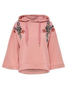 Sweatshirt in lockerer Passform   3/4-Ärmel   Detailreiche Stickerei   Kapuze mit Kordel   Länge: 59 cm in Größe M   Das Model trägt Größe S
