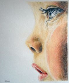 Drawing in dry pastels and pencils of a crying child's face. Color drawing by Alice Gerfault. Come see all my drawings! Portrait Au Crayon, Pencil Portrait, Portrait Art, Pencil Drawings, My Drawings, Pencil Art, Character Illustration, Illustration Art, Ink Pen Art