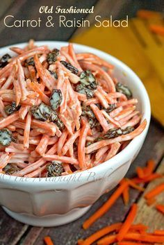 Carrot and raisin salad is another one of those old-fashioned corner deli favorites. Simple to make, better to eat!!