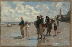 """""""Fishing for Oysters at Cancale,"""" John Singer Sargent, 1878, Oil on canvas, 16 1/8 x 24"""", Museum of Fine Arts, Boston."""