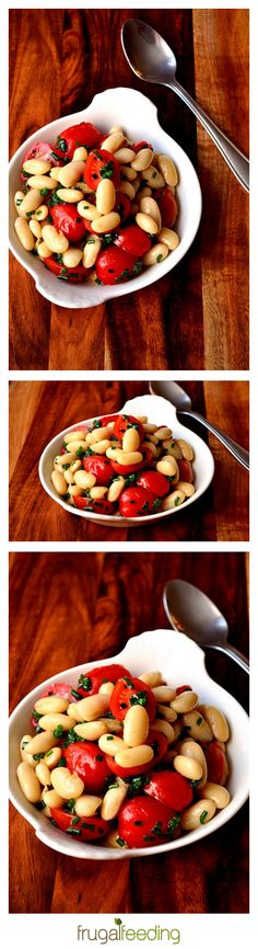 Chive, Tomato & Cannellini Bean Salad Recipe - Only £1.60! A healthy and frugal salad, perfect for using up those early season tomatoes. It's simple, but delicious for lunch or served alongside something more substantial.