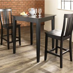 Crosley 3-Piece Counter Height Dining Set with Tapered Leg and Shield Back Stools - Indoor Bistro Sets at Hayneedle