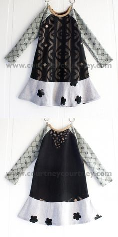cute childs dress recycled   fabric