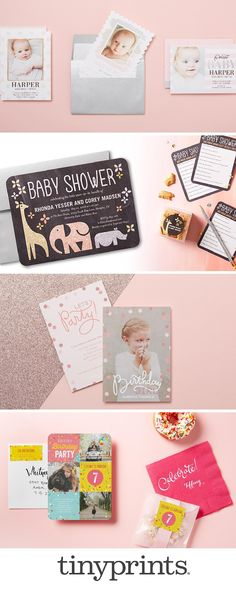 Your baby pink stationery inspiration is here. From baby showers, first birthday invitations, to your kid birthday party invitations, Tiny Prints has stationery for all life's occasions.