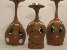 Gingerbread Men Wine Glass Candle Holders by ButterflyKisCreation, $29.99