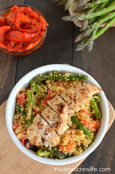 Roasted Red Pepper and Asparagus Quinoa from www.insidebrucrewlife.com