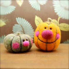 Darling for #Halloween!   Needle Felted Wool Happy Pumpkin Toys  Decoration  by asherjasper, $30.00
