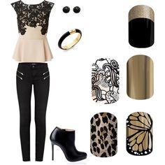 Jamberry Nails - Black & Gold; Guilded Leopard; Butterfly Effects; Little Black Dress; Mirror Metallic