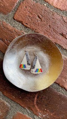 Chubbeadrings Shiny Grey Edge Pride Symbol Dangle Beaded Earrings By Chubbeadrings by chubbybeadedearrings on Etsy