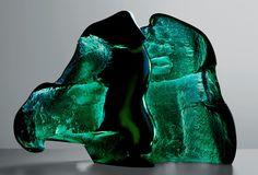 Czech Glass Art /// Jan Fišar - The Guardian - Slumped glass block,   partially cut and polished /// czech-glassart.com