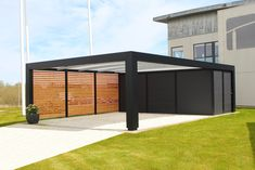 Kubic carport - KUBIC is our Bauhaus style carport with a wide frame and a solid construction. This modern carport - Car Porch Design, Garage Design, House Design, Carport Sheds, Carport Garage, Pole Barn House Plans, Pole Barn Homes, Carport Modern, Barndominium Floor Plans