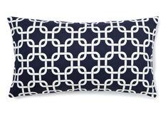 lattice lumbar pillow, navy