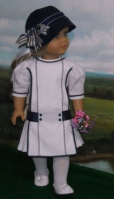 Early Century White and Navy Cotton Frock for 18 inch Girls like Rebecca American Doll Clothes, Girl Doll Clothes, Doll Clothes Patterns, Girl Dolls, Ag Dolls, Doll Patterns, American Girl Doll Rebecca, Cotton Frocks, Girl Outfits