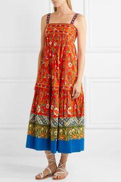 Tory Burch - Dayton Embroidered Printed Cotton-blend Midi Dress - Orange - US12