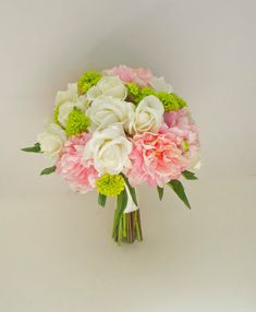light pink and chartreuse wedding   ... '', (Pink, Ivory, Green, Chartreuse) Real Touch Peony Wedding Bouquet